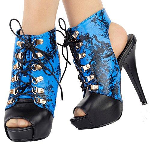 Voir l'établissement histoire Womens élégant argent découpe dentelle jusqu'à sandales gladiateur Bootie, LF30100 Bleu