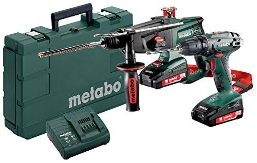 Metabo 685083000 2.3 Combo Set 18 Volt BS KHA 18 LTX 2 Li-Power Akkupacks (18 V/2,0 Ah), grüngrauschwarzrot