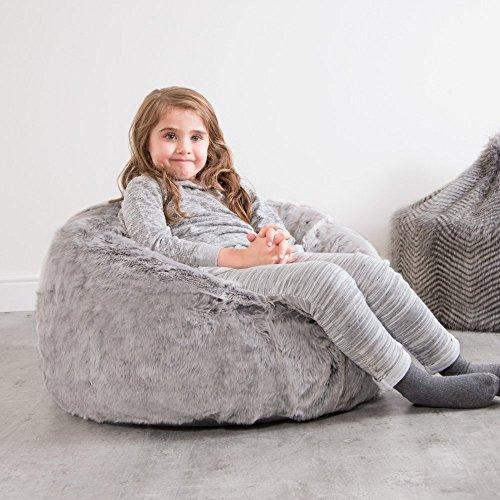 Icon Kinder Sitzsack - Pelzoptik Sitzsack, 70cm x 64cm - Kunstfell Pelzsitzsack