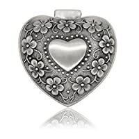 OFKPO European Classic Vintage Heart-shaped Metal Jewelry Box with Rose Gift for Girls Ladies Women, Silver