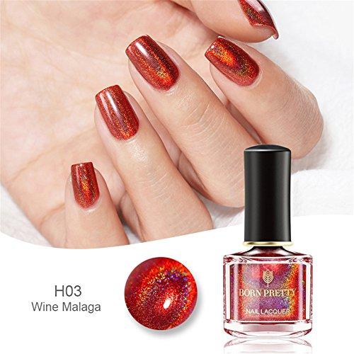 BORN PRETTY Holographic Nail Polish Rose Red Holo Glitter Nail Lacquer BP-H03 -