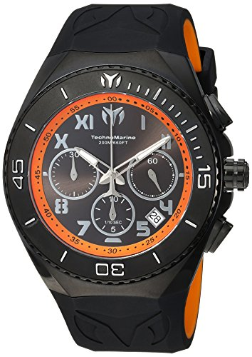 Technomarine Men's 'Manta' Quartz Stainless Steel and Silicone Casual Watch, Color Black (Model: TM-215072)