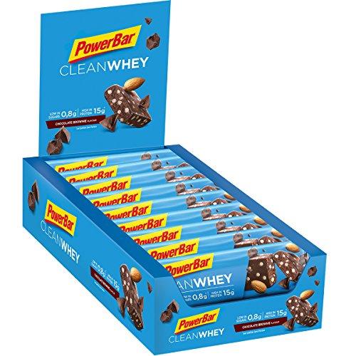 Powerbar Protein Riegel Clean Whey Low Sugar Eiweiß-Riegel (ohne Schokoladenüberzug Fitness-Riegel) Chocolate-Brownie, 18 x 45g