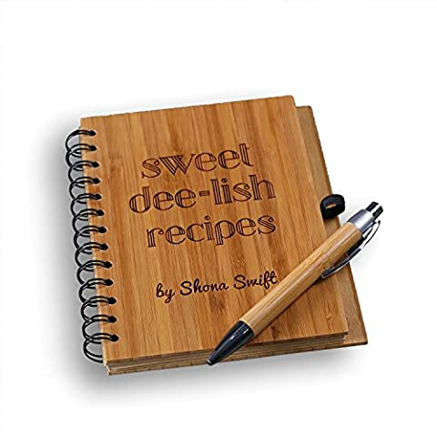 Cairnstone Personalised Spiral Bamboo Notebook & Pen - Free Custom Engraving - Journal or Kitchen and Cooking Gift