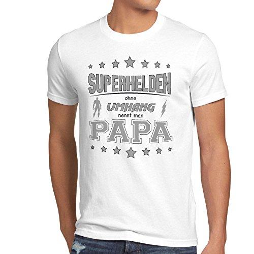style3 Superhelden ohne Umhang nennt man Papa Herren T-Shirt Fun Shirt Vater Dad Weiß