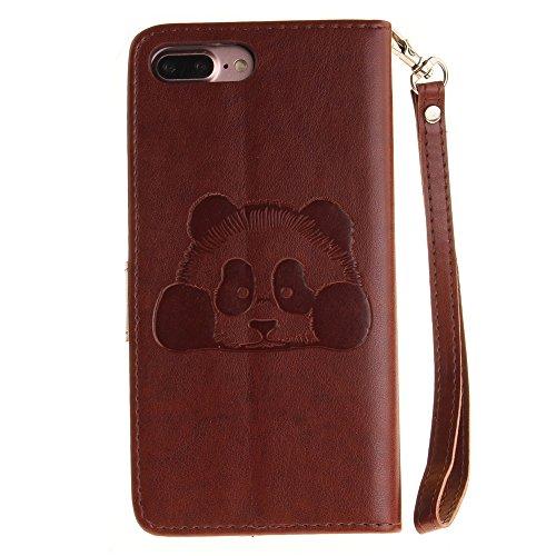 iPhone Case Cover Solid Color 3D Cute Panda Embossed Housse en cuir PU avec Lanyand Card Slots pour IPhone 7 Plus ( Color : 9 , Size : IPhone 7 Plus ) 4