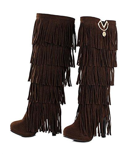 Kniehoch Plateau Heels 10cm Wildleder Herbst Damen Blockabsatz Stiefel High Braun Bequeme Fashion Ye Winterschuhe Mit Fransen Elegant XwEPtxqE