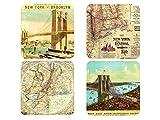 4er Set Vintage Untersetzer NEW YORK MAPS Glasuntersetzer aus Holz Tischdeko