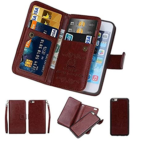 iPhone 6/6s Case,iPhone 6/6s Detachable Wallet Case,Soundmae Multi-function 2-in-1 Magnetic Separable Removable PU Leather Wallet Case Flip Cover With Credit Card Holder for iPhone 6/6s[Brown]