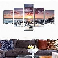 H.COZY 5 Parti Moderno stampato le onde del mare pittura di paesaggio immagine immagini di arte della tela pittura dell'ambiente marino e il panorama della camera (Senza telaio)far145 50 x30