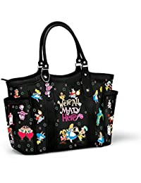 Disney Alice In Wonderland 'We're All Mad Here' Ladies' Handbag – Fabric Tote With Black Faux Leather Trim Features Disney Alice in Wonderland Characters. Exclusive to The Bradford Exchange