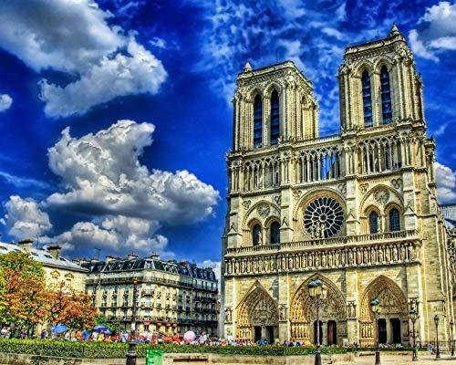 alen Nach Zahlen Für Erwachsene Anfänger Notre Dame De Paris Kathedrale Leinwand Färbung Bilder Modern DIY Kits Kunst Zimmer Einzigartig Dekor Geschenk Rahmenlos 40X50Cm ()