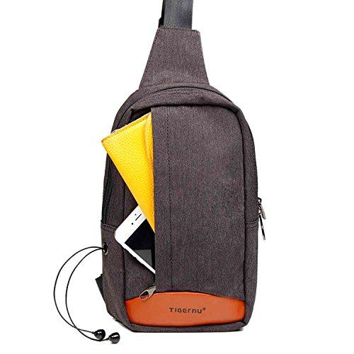 Tigernu Caso esterno piccola borsa a tracolla zaino della spalla petto tasca per gli uomini e le donne di colore (Nero)