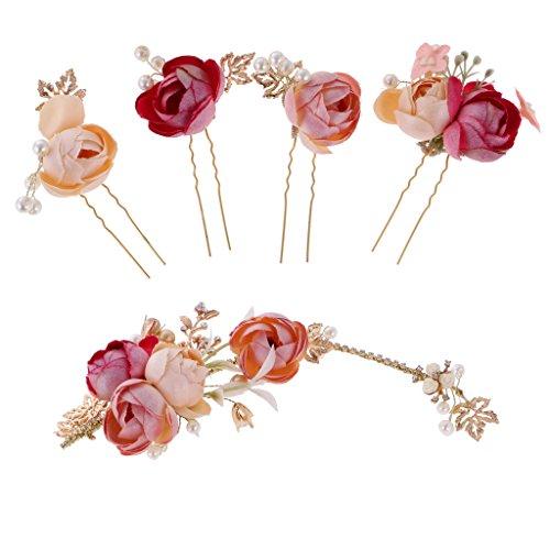Gazechimp 5pcs Braut Blumen Perlen Haarnadel Haarclip