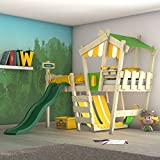 WICKEY Kinderbett mit Rutsche CrAzY Hutty Hochbett mit Dach Abenteuerbett mit Lattenboden, apfelgrün-gelb + grüne Rutsche