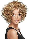 Aukmla Perruques courtes Bob Coupe Mode sexy avant Cheveux humains sans colle bouclés perruque Lace Front Cheveux humains Vrgin pièces Cheveux bouclés Perruques pour femme...