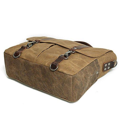 Neuleben Vintage Herren Umhängetasche 14 Zoll Laptoptasche Schultertasche Messenger Bag aus Wasserdicht Canvas und Leder (Grau) Braun