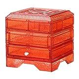 FBSBSD Caja De Joyería A Prueba De Polvo Caja De Almacenamiento De Joyería Pendiente De Anillo De Cajón De Escritorio Transparente Naranja