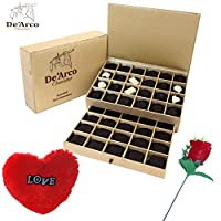 De'Arco Chocolatier Valentine chocolate for boyfriend, Valentines Day Chocolates, Valentines Day Gift Hamper, Premium Valentine Chocolate, 560g + FREE - Furr Heart and Rose