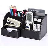 Tisch-Organizer Kunstleder Schreibtisch-Organizer Schreibtischbox Stiftebox Stiftehalter mit Schublade Ordnungssystem für Büro aus Kunstleder 7 Fächer Schwarz