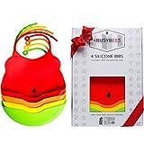 Baby Silikon Lätzchen Rainbow Kollektion - 4er Pack Baby Lätzchen – Bestes Baby und Neugeborenen Geschenk – Lätzchen mit Auffangschale - Wasserdicht – Spülmaschinenfest - Junge Mädchen KLEIN
