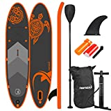 Nemaxx PB300 Tabla de Paddle Surf Sup 300x76x15cm, Naranja/Antracita - Tabla de Paddle Board - Tabla de Surf - Hinchable con Mochila, remos, Aletas, Bomba de Aire, Kit de reparación