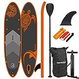 Nemaxx PB300 Stand up Paddle Board 300x76x15cm, orange/anthrazit - SUP, Surfbrett, Surf-Board - aufblasbar & leicht zu transportieren - inkl. Tasche, Paddel, Finne, Luftpumpe, Repair Kit, Fuß-Leine