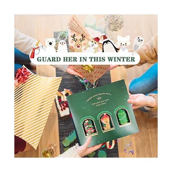 Juego de Crema de Manos Hidratante Nutritiva Navideña de 3 Piezas, Cremas de Manos Restauradoras con Fragancia Herbal, Quita La Línea Fina, Regalos de Navidad para Mujeres