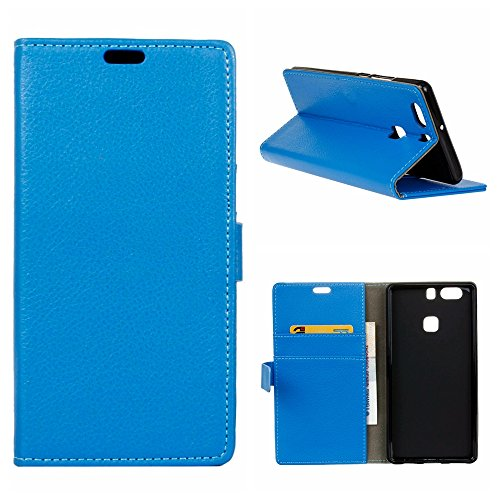 Mooncase huawei p9 plus custodia, [cart slot] portafoglio protettiva in pelle bookstyle flip cover stand case per huawei p9 plus blu