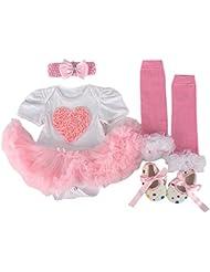 ZAMME Beb¨¦ reci¨¦n nacido venda + Romper + Calcetines + Zapatos Set Outfit ropa 4pcs