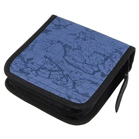 SODIAL(R) 40 Disc Fashion Map CD DVD Storage Holder Sleeve Case Box Wallet Bag Album Zipper - blue