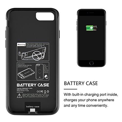 iPhone 7 Plus Akku Hülle, Moonmini® für 7 Plus 7500mAh Externe Batterie Aufladbare Schutzhülle Power Bank Backup Charging Case Schutz zubehör (Black) Schwarz