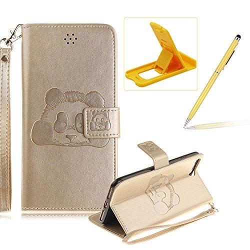 Für iPhone 7 Plus 5.5Zoll Wallet Tasche Brieftasche Schutzhülle,Herzzer Stilvoll Jahrgang [Lovely Panda Prägung] Schutzhülle Wallet Case Design Lederhülle Zubehör im Bookstyle Cover Schale mit Ständer Gold