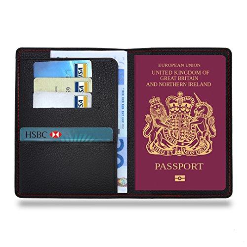 MPTECK @ Fundas Pasaporte Funda para pasaporte de cuero PVC Cartera de piel para pasaporte Caja Sostenedor Cubierta Organizador Protector con 3 huecos para tarjeta de crédito y billete Tarjetas Identificación Accesorios Viaje Negro