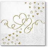 20 servetten gouden harten / bruiloft / liefde 33x33cm