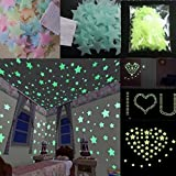 TuHao Wall Stickers 100PC Fluorescent Glow In The Dark Stars Bedroom Sitting Room Background For Baby Child Removable Decals Mural Home Room Decor (Blue)