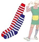 1 Paar geringelte Strümpfe zweifarbig gestreift Kniestrumpf Overknee zwei Längen und zwei Größen (Universalgröße)