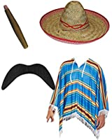 MENS MULTICOLORED MEXICAN PONCHO COSTUME HAT CIGAR MUSTACHE ADULT FANCY DRESS