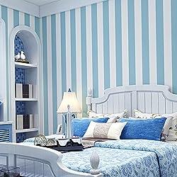 AIWQTO Rayas Verticales de la Habitación de los Niños Papel Pintado Auto-Adhesivo Estilo Mediterráneo Moderno Minimalista Sala de Estar Dormitorio-Azul Claro 21*118inch