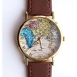 Colorful Old World Map Genuine Brown Leather Strap Men Women Wristwatch