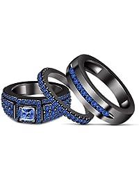 Silvernshine 1.35 Ct Princess Cut Sapphire 3 Piece Engagement Ring Trio Set 14k Black Gold Fn