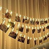 Cadena de luces LED - Chrasy 20 Photo Clips Batería Powered Parpadea luces, Fiesta de bodas Inicio de Navidad & decoración de la pared Luces para colgar fotos, tarjetas, ilustraciones (6.5Ft, blanco caliente)