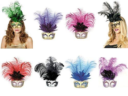 Maske Augenmaske Venedig lange Feder Karneval Fasching Party grün (Karneval In Venedig Kostüme)