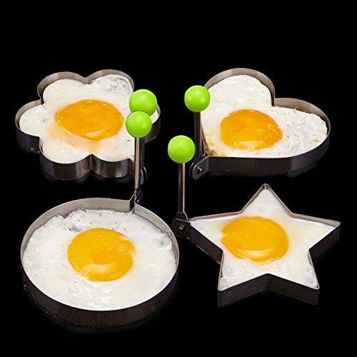 Efbock cocina de acero inoxidable omelette dispositivo de corazón panqueque molde de molde anillo de cocción de huevo frito Shaper 1set
