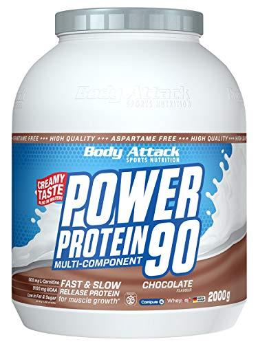 Body Attack Power Protein 90, Chocolate, 2 kg, 5K Eiweißpulver mit Whey-Protein, L-Carnitin und BCAA für Muskelaufbau und Fitness