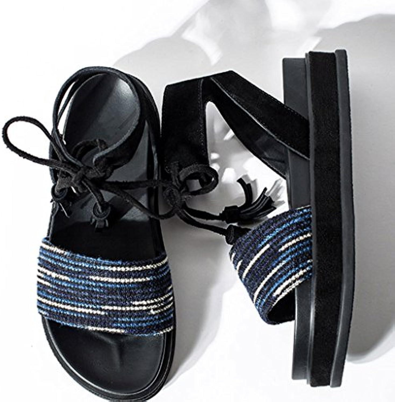 Sandales Retro Sandali Schoolgirl Platform scarpe Estate Mid Heel Roman Strap Sandali Donna. (Coloreee   Blu, dimensioni...   Miglior Prezzo    Uomo/Donne Scarpa
