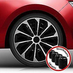 Autoteppich Stylers Aktion Bundle 16 Zoll Radkappen/Radzierblenden Nr.006 (Farbe Schwarz-Silber), passend für Fast alle Fahrzeugtypen (universal)
