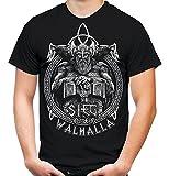 Sieg Oder Walhalla Männer und Herren T-Shirt | Odin Wikinger Valhalla Geschenk | M1 Front (XXXL, Schwarz)