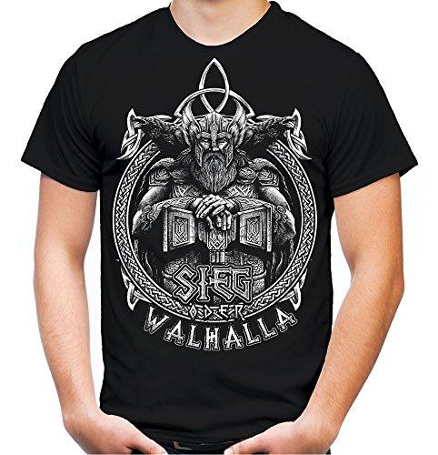 Mann Wikinger Kostüm Thor - Sieg oder Walhalla Männer und Herren T-Shirt | Odin Wikinger Valhalla Geschenk | M1 Front (XL, Schwarz)