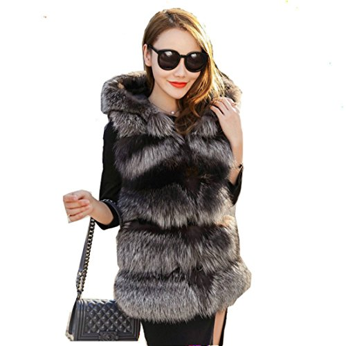 Avell Women's Faux Fur Hooded Ladies Sleeveless Vest Waistcoat Jacket Faux Fur Coat (Large)
